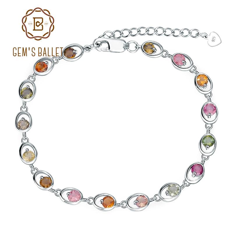 GEM'S BALLET turmalina 100% puro de Plata de Ley 925 pulsera de enlace de cadena para el regalo de las mujeres de moda de lujo joyería fina-in Pulseras y brazaletes from Joyería y accesorios    1