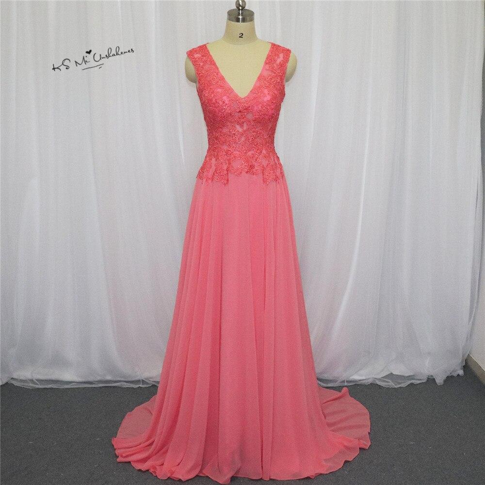 Coral Pink Lace Prom Dresses 2018 Long Formal Eveniong Gowns Chiffon Dress For Graduation Vestido de Baile Vestido de Formatura