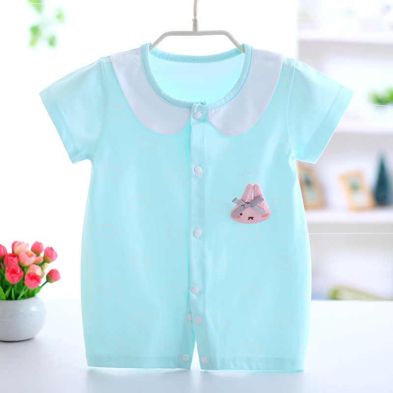 Новинка; детские комбинезоны; хлопковая одежда для новорожденных; Одежда для маленьких девочек; летний детский комбинезон с милым кроликом; ползунки для детей