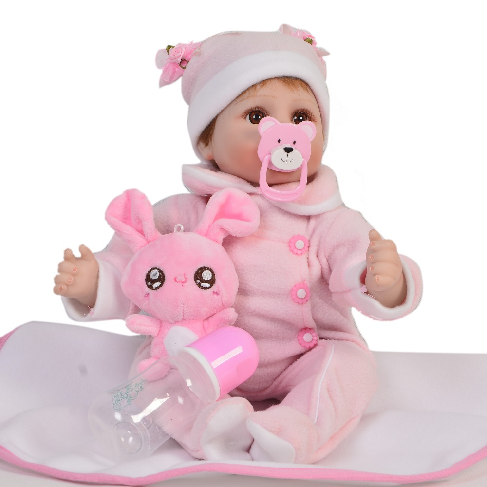 KEIUMI 17 inch Reborn Baby Girl Dolls Soft Silicone Vinyl DIY Toys Realistic Princess Dolls Reborn