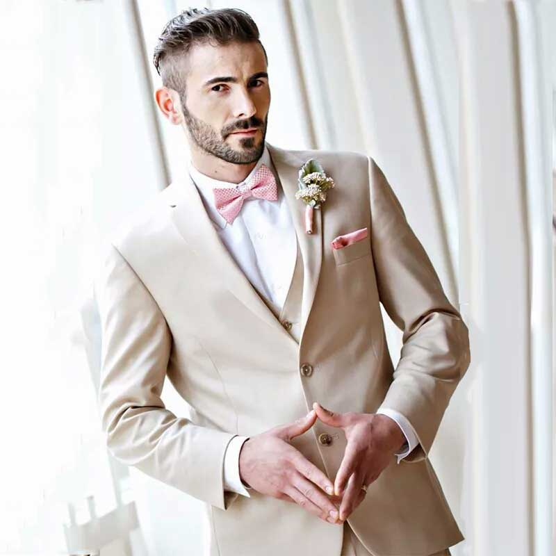 Champagne Groom Tuxedos Men Suits For Wedding Suits Man Blazers Evening Party 3Piece Latest Coat Pants Designs Terno Masculino