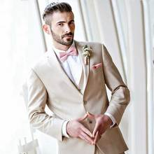 Champagne Groom Tuxedos Men Suits for Wedding Man Blazers Evening Party 3Piece Latest Coat Pants Designs Terno Masculino