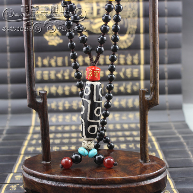 US $509 2 |Authentic old Tianzhu Tibet chalcedony necklace beads necklace  send identification certificate 9 nine Supreme Dzi beads-in Cables,  Adapters