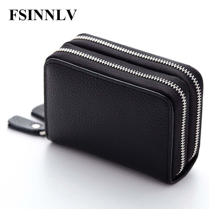FSINNLV Genuine Leather Unisex ID Card Holder 13 Colors Card Wallet Credit Card Business Card Holder Protector Organizer DC118 26 slots genuine leather women men id card holder card wallet purse credit card business card holder protector organizer dc29