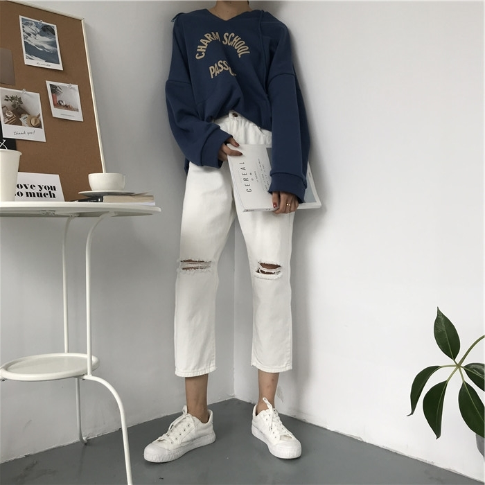 18 Summer Style Black White Hole Ripped Jeans Women Straight Denim High Waist Pants Capris Female Casual Loose Jeans 9