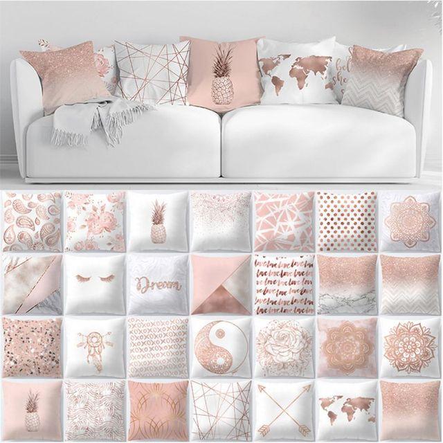 Funda de almohada ZENGIA pestañas Rosa oro geométrico piña brillo poliéster sofá funda de cojín decorativo para decoración del hogar 45x45 cm
