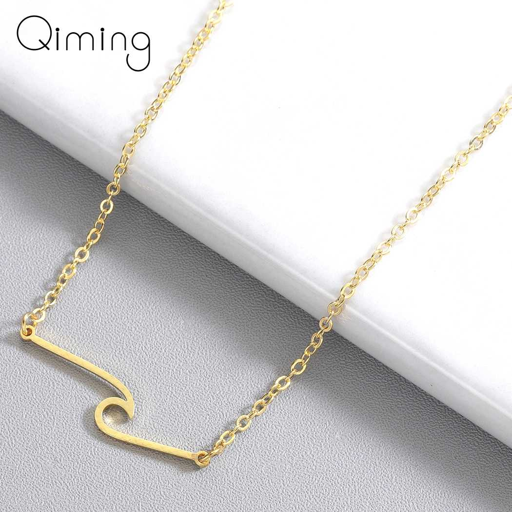 Beach Wave Ocean  Necklace Women Fashion Jewelry Simple Stainless Steel Pendant Necklace Wholesale birthday Gift