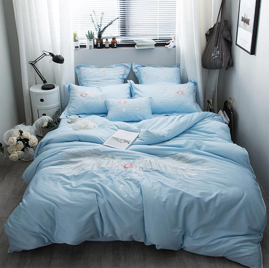 popular cute adult beddingbuy cheap cute adult bedding lots from  - cute blue embroidered plush cotton bedding sets adult teenfull queen kingdouble home textile