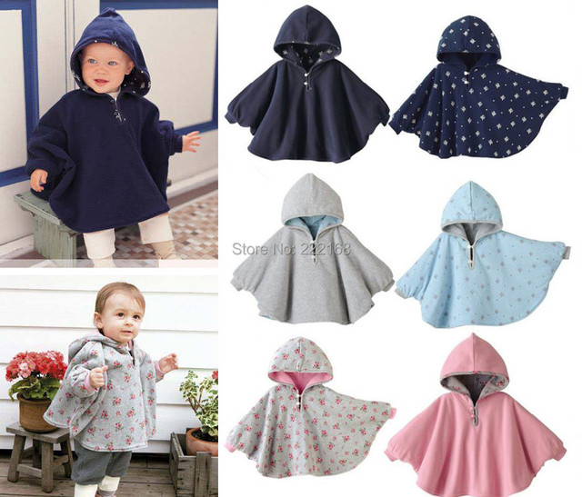 Quality 3 colors baby Cloaks Bebe Jackets babies rompers infant clothing Hooded Coats Two-sided outerwear free shipping