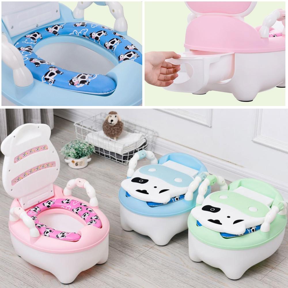 Portable Baby Pot Cute Toilet Seat Potty Toilet Bowl Training Pan Children's Pot Kids Bedpan Comfortable Backrest Animal Kid Pot