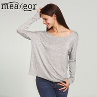 Meaneor Fashion Loose Round Neck Tops Women Casual Tops Women Batwing Sleeve T Shirt Solid Stretch