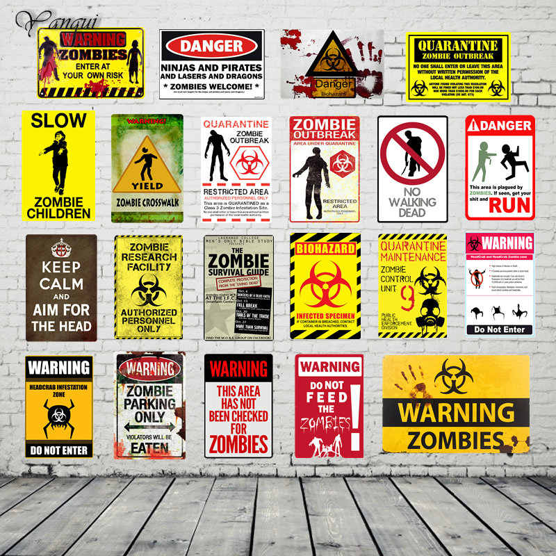 20x30CM Personalized Custom Home Bar Pub Cafe Metal Signs Warning Zombies Print Poster Vintage Decor Wall Plaque YQZ079 signs