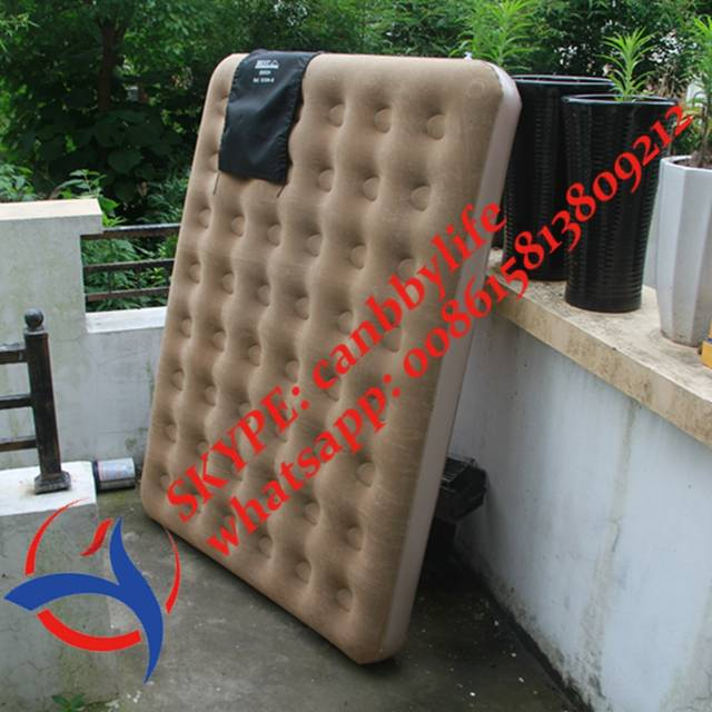 Double Plus Portable Flocked Air Mattress Inflatable Blow Up Air