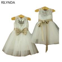 New Real Flower Girl Dresses Bow Sashes Keyhole Party Communion Pageant Dress for Wedding Little Girls Kids/Children Dress