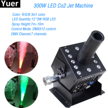 цена на Free Shipping CO2 Jet With DMX 512 3in1 RGB LED Cannon Special Effect 12x3W LED Stage Smoke Machine Professional Dj Equipment