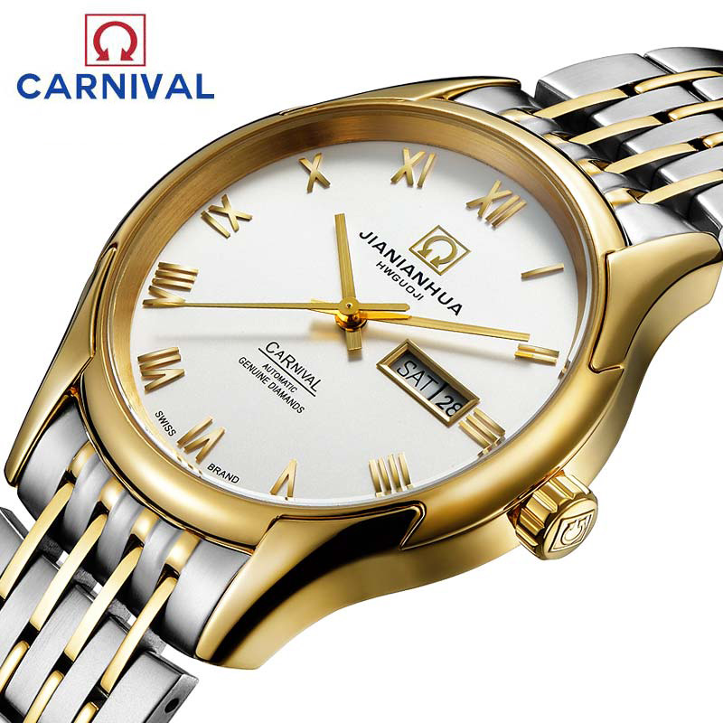 Carnival Watch men Gold Stainless Steel Automatic Mechanical Luminous Waterproof Week date White Dial Watches