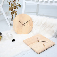 Nordic Creative Simple Wood Clock New Square Round Wall Clock Parlor Bedroom Decoration Mute Wooden Wall Clock