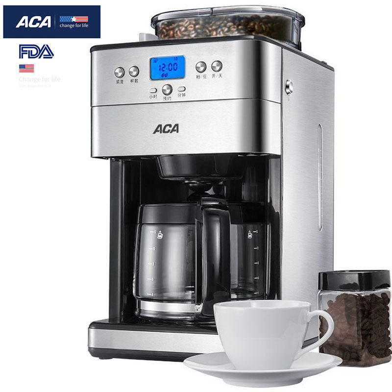ACA Drip Coffee Maker Automatic Coffee Maker Machine Electric Coffee Grinder with 150ML/Cup 1000W 240V for Home Kitchen Commerci household fully automatic coffee maker cup portable mini burr coffee makers cup usb rechargeable capsule coffee machine