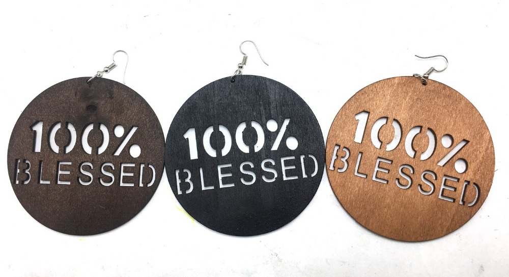 3 inch round 100% Blessed wood Earrings