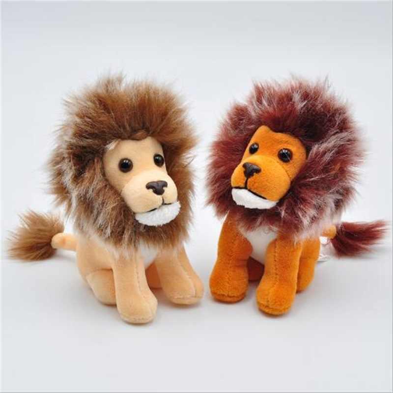 Nueva buena calidad lindo sentado alto 10cm el león felpa juguetes pequeños colgantes llaveros suave peluche animales muñeca para los niños