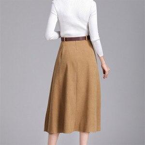 Image 3 - Colorfaith nowy 2018 Suede kobiety długa spódnica trzy czwarte jesień zima panie pasek w stylu vintage przyciski spódnica wysokiej talii Femininas SK6679