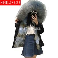 2017 Winter new fashion women high quality blue wolf fur raccoon fur collar army green short section of loose black parka&XXL