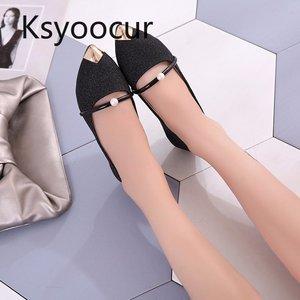Image 5 - ماركة Ksyoocur 2020 ربيع جديد السيدات حذاء مسطح أحذية النساء غير رسمية مريحة أشار تو حذاء مسطح 18 012