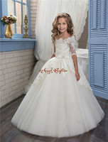 2017 Pretty White Flower Girls Dresses Off The Shoulder Glitz Pageant Gown Lace Sleeves Toddler Party