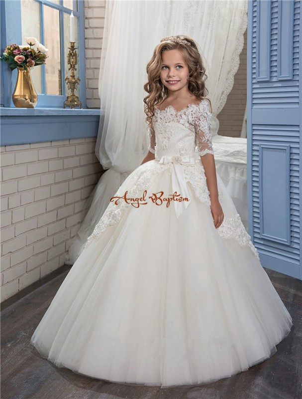 2018 Pretty White Flower Girls Dresses Off The Shoulder Glitz Pageant Gown Lace Sleeves Toddler Party Dress Custom Made цены онлайн