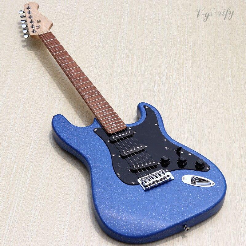 Guitare électrique bleue ST avec fretboard en palissandre, matériels noirs-offre spéciale d'usine