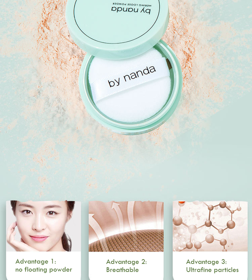 BY NANDA 3 Color Translucent Pressed Powder With Puff Smooth Face Makeup Foundation Waterproof Loose Powder 7
