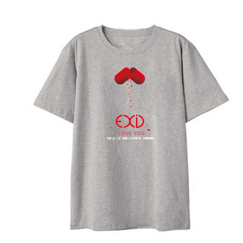 Kpop EXID/черные футболки с коротким рукавом в Корейском стиле Bangtan для мальчиков, модная футболка для женщин и мужчин, хлопковая Повседневная футболка для полных хип-хоп