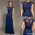 2016 New Arrival Dark Blue Woman Elegant Sexy Lace Long Chiffon Evening Formal Party Dress floor length Cap sleeves Prom Gowns