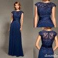 2016 recién llegado de azul oscuro mujer elegante Sexy de encaje de noche Formal del banquete del vestido palabra de longitud mangas Cap vestidos de baile