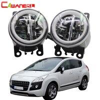 Cawanerl 2 Pieces Car Styling LED Bulb 4000LM Fog Light + Angel Eye Daytime Running Light DRL 12V For Peugeot 3008 MPV 2009 2013