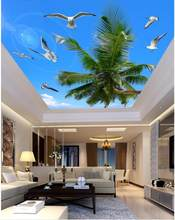 Seabirds palm sky sunshine ceiling 3d room wallpaper landscape ceilings stereoecopic wallpaper(China)