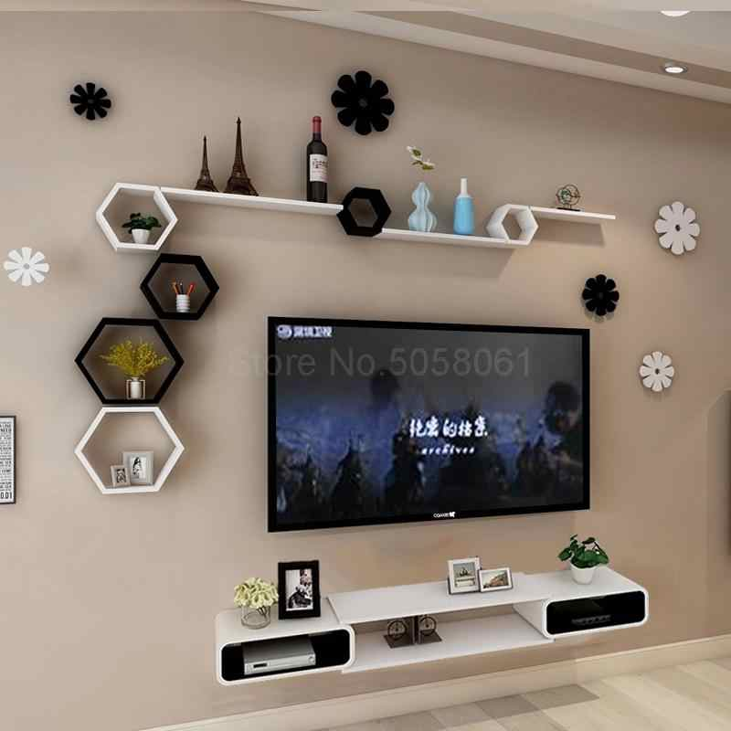 Wall Shelf Set Top Box Living Room Wall Mounted Tv Cabinet Room Background Wall Tv Wall Decoration Frame Tv Stands Aliexpress