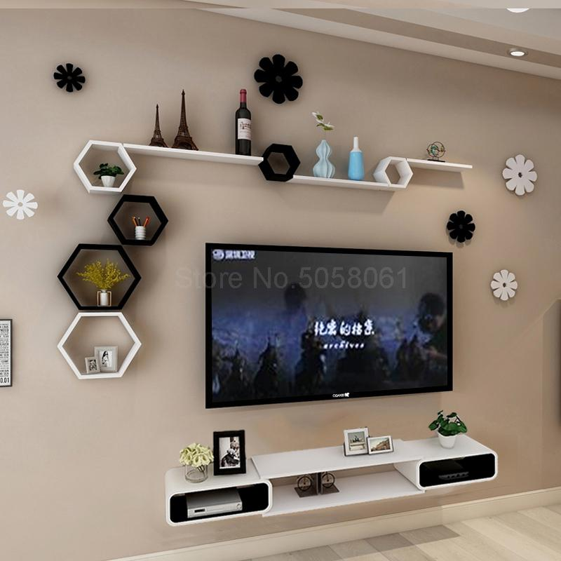 Tv Kast Tv.Wandplank Set Top Box Woonkamer Muur Gemonteerde Tv Kast Kamer