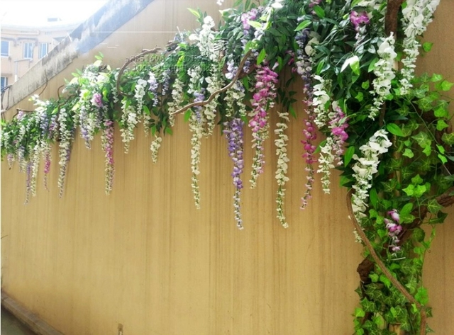 wisteria Free shipping artificial silk ivy with 3 heads,artificial flowers vine,wedding flowers,home garden decoration flowers