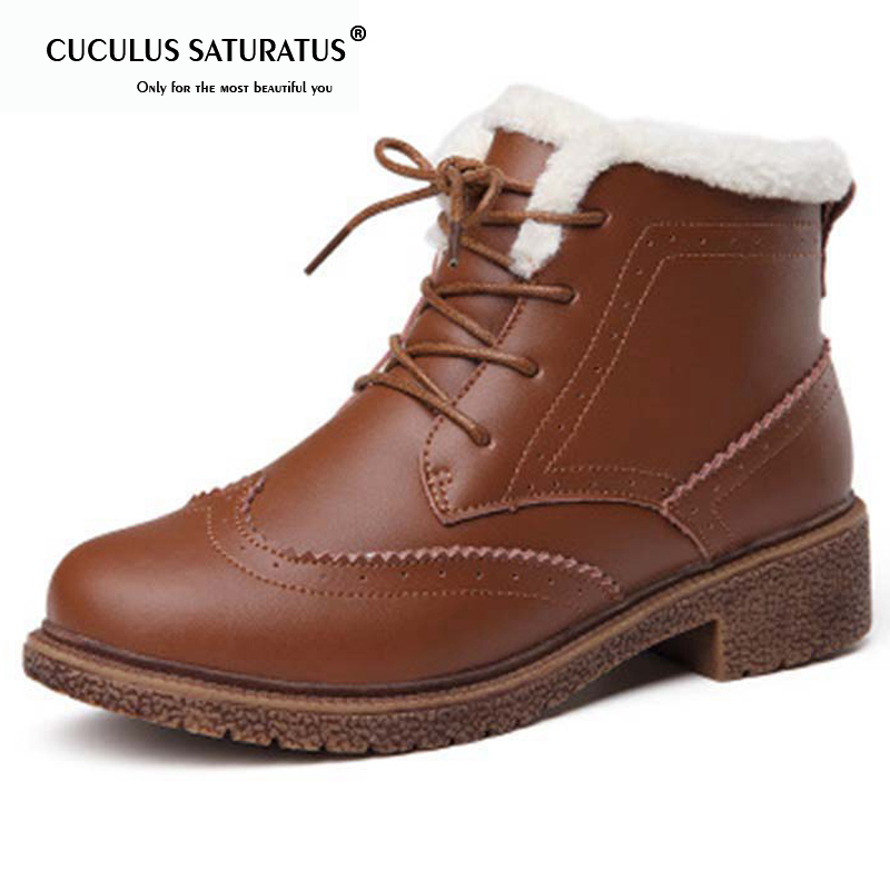 Cuculus 2018 Women Boots Waterproof Winter Warm Fur Ankle Boots Thick Soled Warm Cotton Shoes Woman Botas Footwear 1848 women snow boots winter warm fur ankle boots couple thick soled cotton shoes woman flats waterproof slip on botas mujer zapatos
