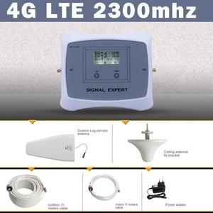 Image 1 - 70dB India Saudi Arabië Lcd scherm 4G Lte Tdd 2300 Mobiele Signaal Booster Versterker 4G Mobiele Telefoon Cellulaire repeater Antenne Set