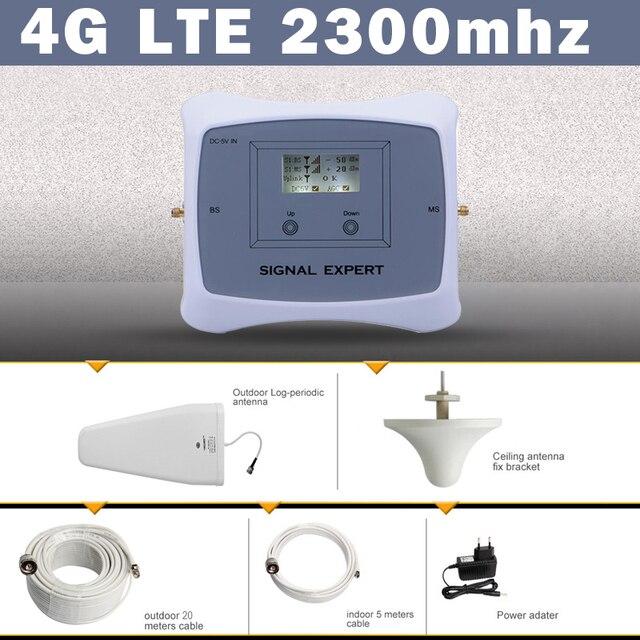 70dB India Saudi Arabië Lcd scherm 4G Lte Tdd 2300 Mobiele Signaal Booster Versterker 4G Mobiele Telefoon Cellulaire repeater Antenne Set