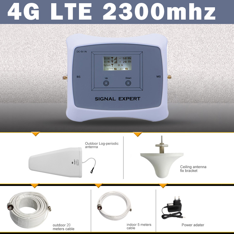 70dB India Saudi Arabia LCD Display 4G LTE TDD 2300 Mobile Signal Booster Amplifier 4G Cell Phone Cellular Repeater Antenna Set