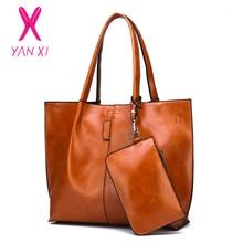 YANXI 2PC/Set Fashion PU Leather Women Handbag Luxury High Quality Shoulder Bag for Designer Large Capacity Womens