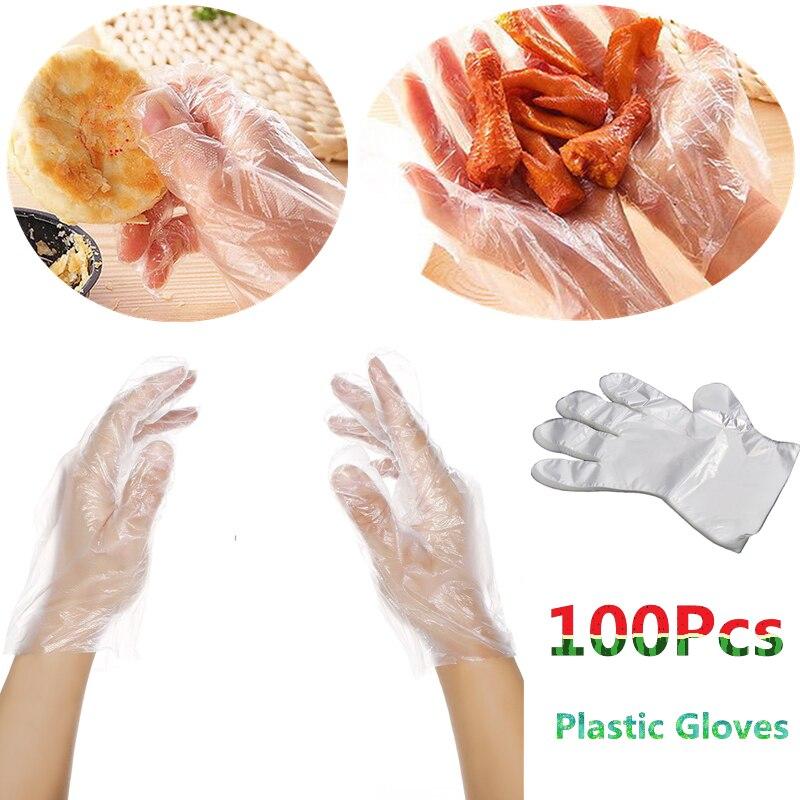 100PCS Food Grade Plastic Disposable font b Gloves b font Restaurant font b Household b font