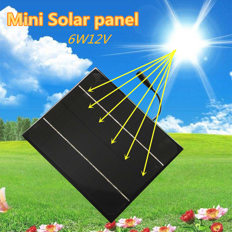 12V 6W Solar Panel Portable Power Bank Board External Battery Charging Solar Cell Board DIY Clips Outdoor Travelling