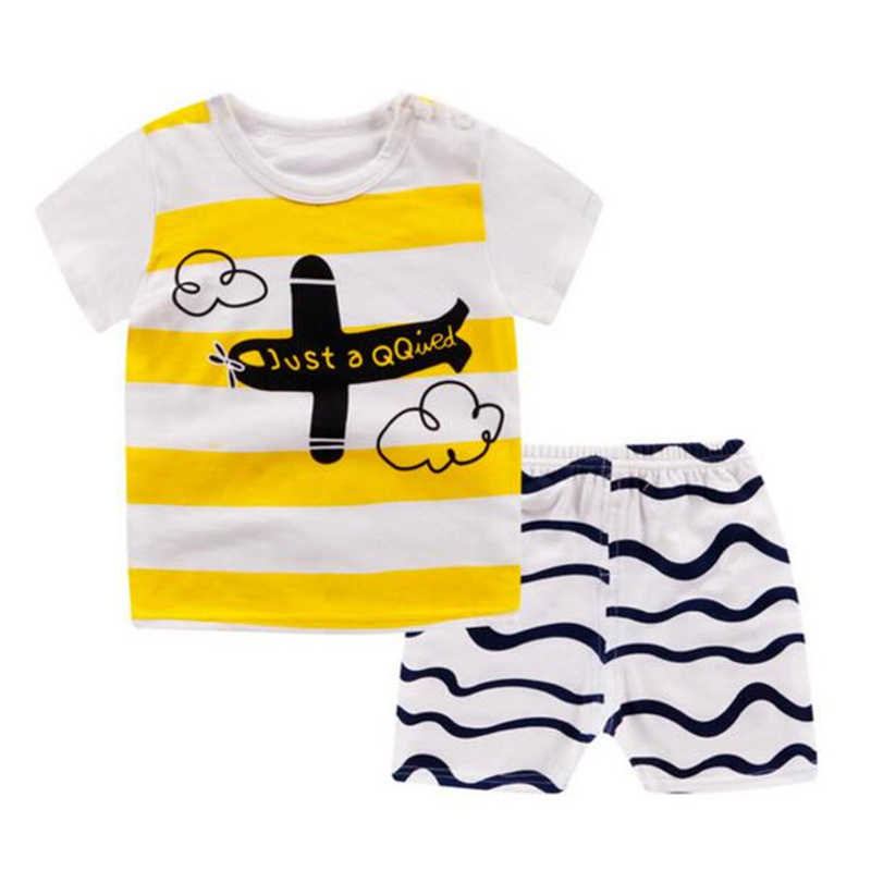 2pcs Baby Sets Summer Cartoon Fashion Boys Girls Outfits Kids Children T-shirt Short Sleeve + Shorts Baby Clothing(China)