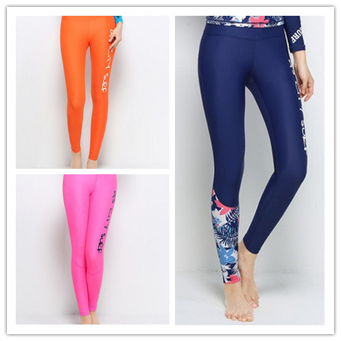 Women Pink Surfing Pants Quick-dry Dark Blue Diving Pant Female Long Slim Trousers High-elastic Swimming Trunks Jellyfish Pants