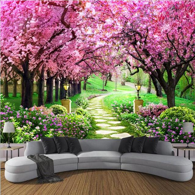 Custom 3D Photo Wallpaper Flower Romantic Cherry Blossom Tree Small Road Wall Mural Wallpapers For Living