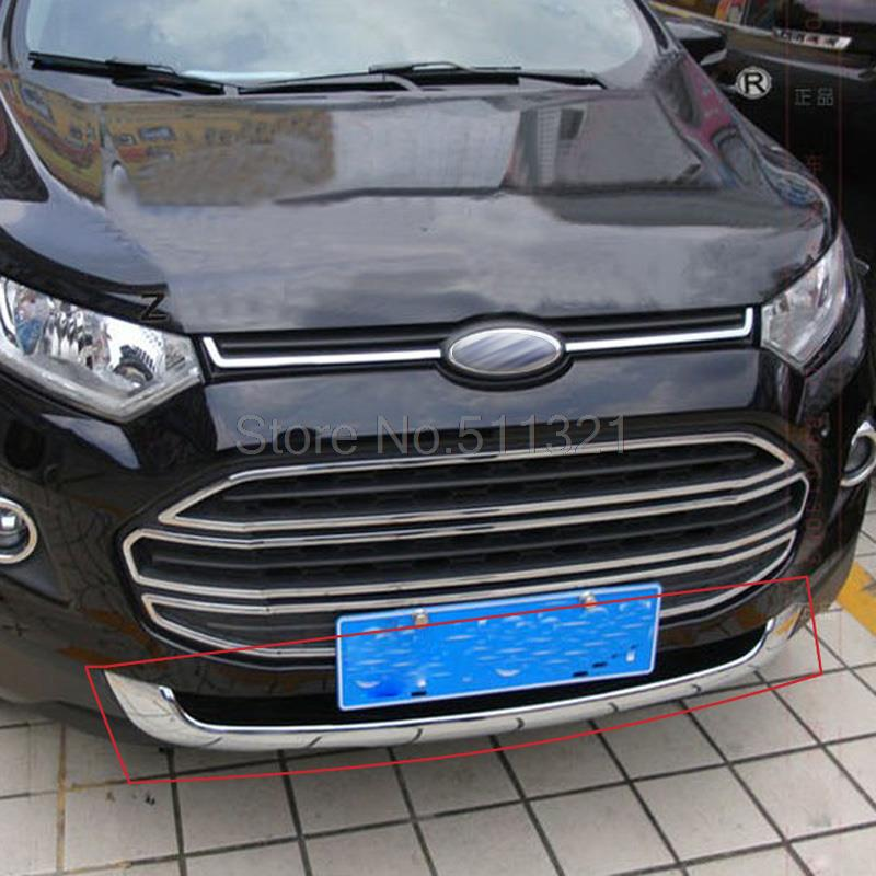 Car Styling For Ford EcoSport 2013 2014 2015 2016 ABS Chrome Bottom Grille Cover Frame Car Racing Grills Trim Auto Accessories 15x15cm round svt cobra shelby gt500 super snake chrome abs car styling refitting emblem badge grille trunk 3d sticker for ford